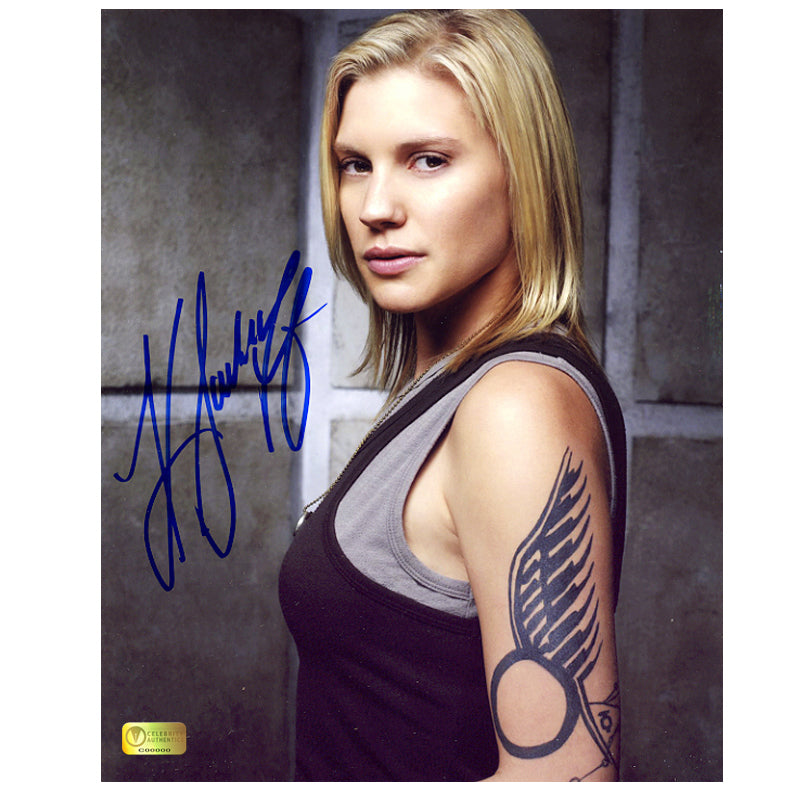 Katee Sackhoff Autographed Battlestar Galactica Starbuck Tattoo 8×10 Photo