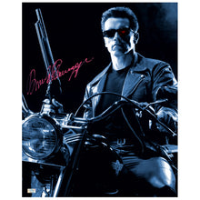 Load image into Gallery viewer, Arnold Schwarzenegger Autographed Terminator 2: Judgement Day Harley Davidson 16×20 Photo