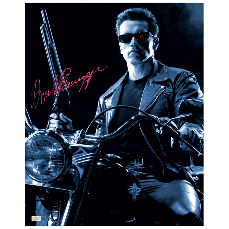 Arnold Schwarzenegger Autographed Terminator 2: Judgement Day Harley Davidson 16×20 Photo