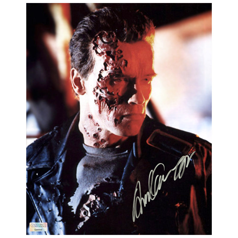 Arnold Schwarzenegger Autographed Terminator 2: Judgement Day Battle Damaged 8x10 Photo