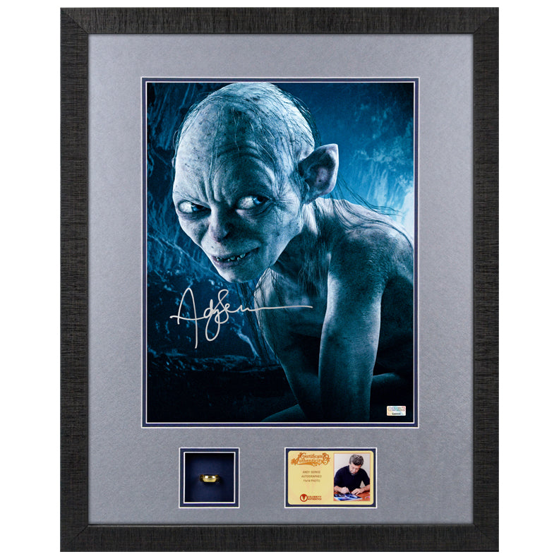 Andy Serkis Autographed Lord of the Rings Gollum 11x14 Framed Display with Collectors Ring