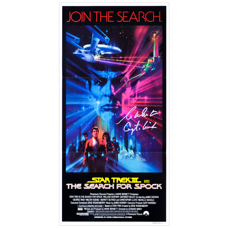 William Shatner Autographed 1984 Star Trek III: The Search For Spock Original 26x13 Single-Sided Movie Poster