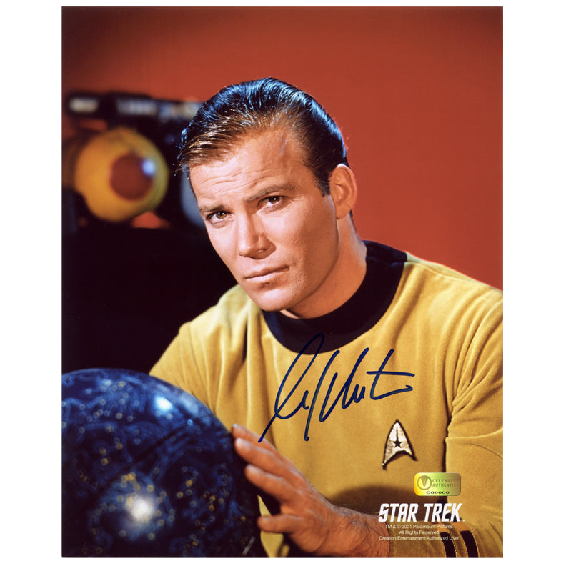 William Shatner Autographed Star Trek Captain Kirk with Star Map 8x10 Photo