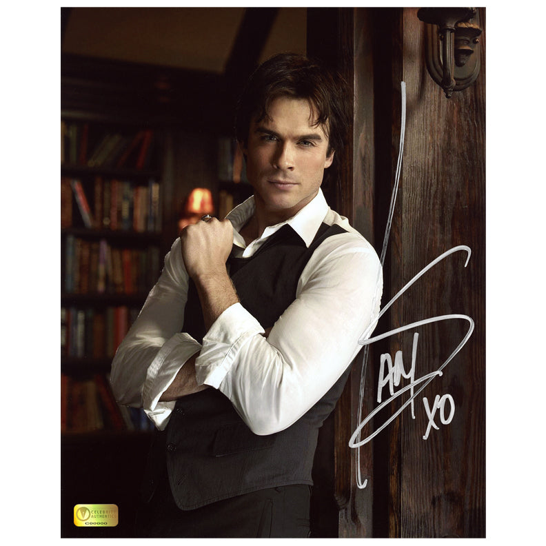 Ian Somerhalder Autographed The Vampire Diaries Library 8x10 Photo