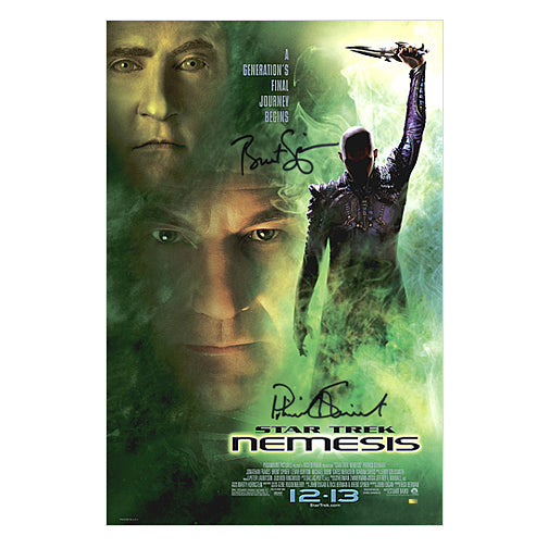 Patrick Stewart and Brent Spiner Autographed Star Trek Nemesis 16x24 Poster