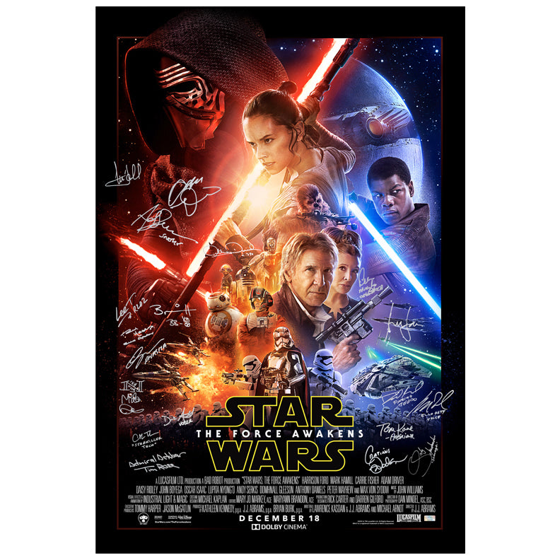Harrison Ford, Mark Hamill, Adam Driver Star Wars The Force Awakens Cast Autographed Original Double Sided 27×40 Final Style Movie Poster