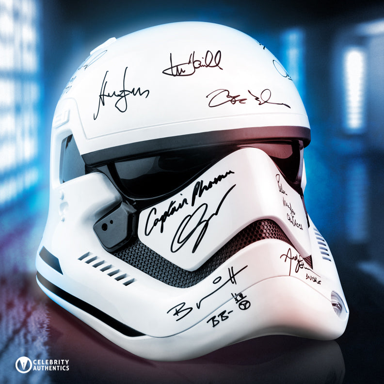Harrison Ford, Mark Hamill, Adam Driver, Star Wars The Force Awakens Cast Autographed First Order 1:1 Scale Stormtrooper Helmet