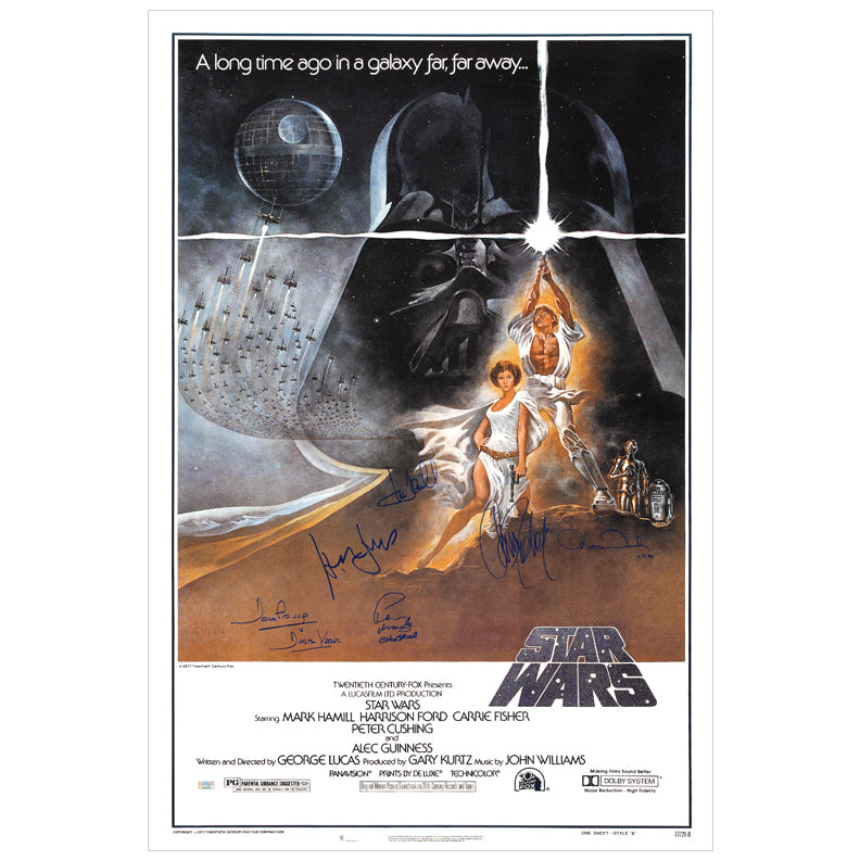Harrison Ford, Carrie Fisher, Mark Hamill, Peter Mayhew, Anthony Daniels and David Prowse Autographed Star Wars: A New Hope 27×40 Classic Poster