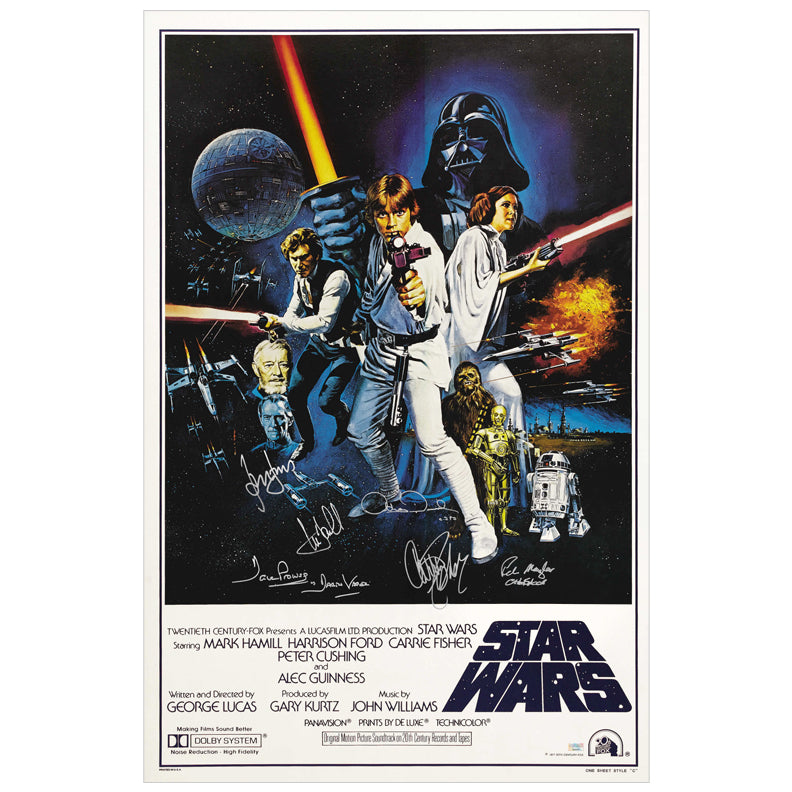 Harrison Ford, Carrie Fisher, Mark Hamill, Peter Mayhew, Anthony Daniels and David Prowse Autographed Star Wars: A New Hope 27×40 Retro Poster