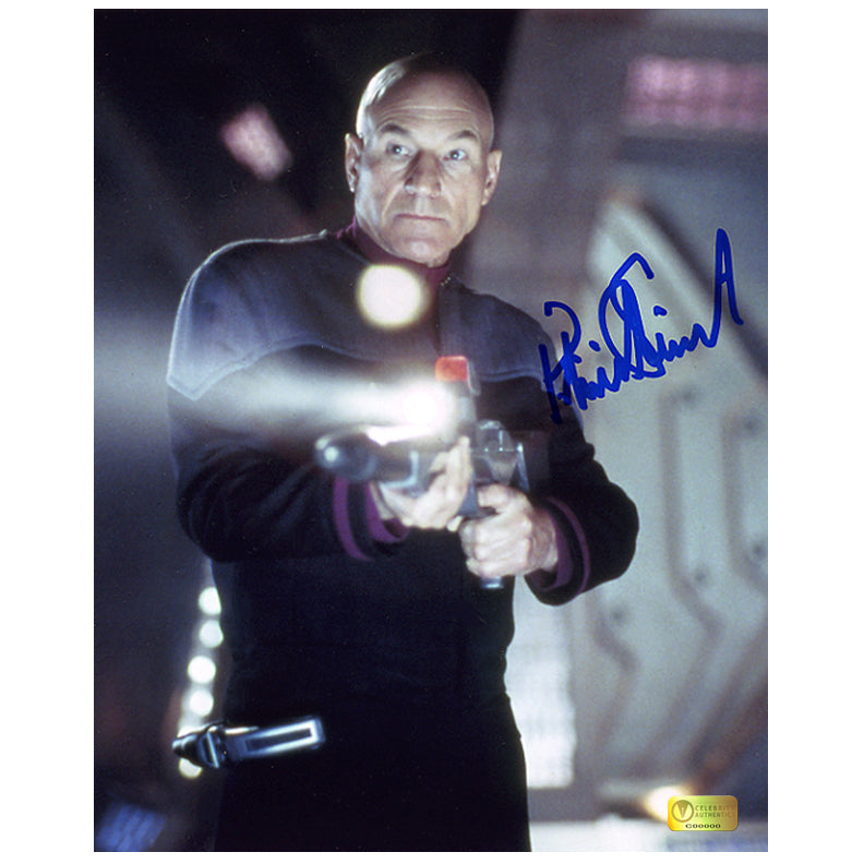 Patrick Stewart Autographed Star Trek The Next Generation Phaser 8x10 Action Photo