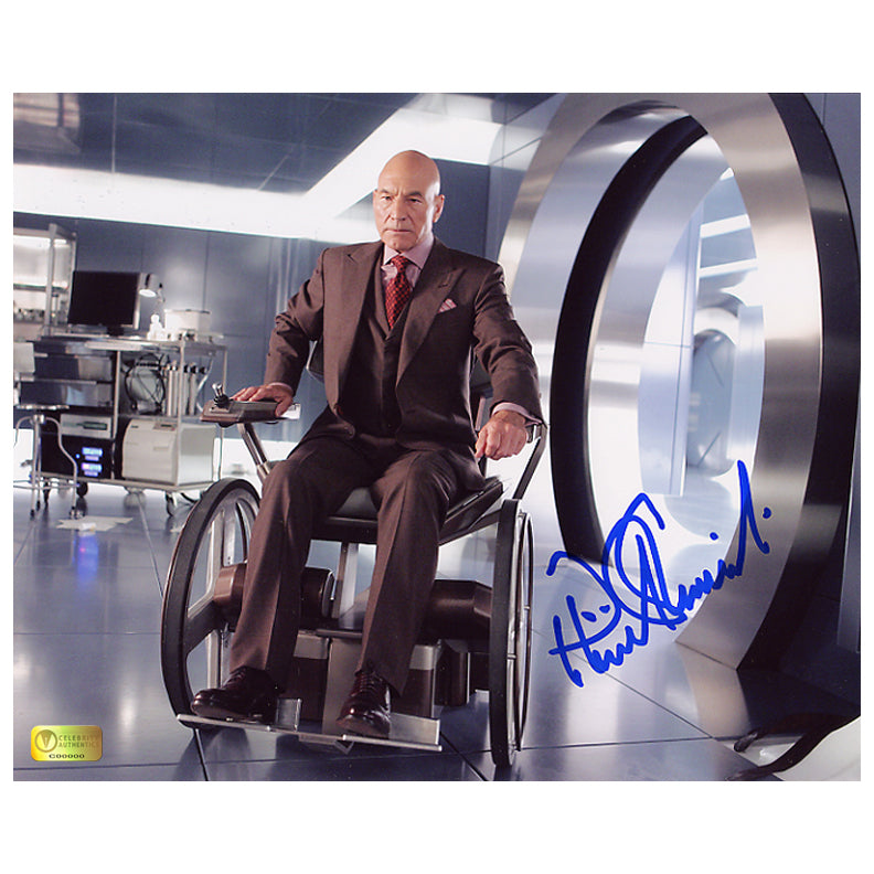 Patrick Stewart Autographed X-Men Professor X 8x10 Action Photo