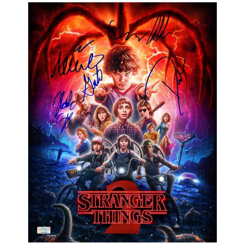 Millie Bobby Brown, David Harbour, Noah Schnapp, Gaten Matarazzo, Caleb McLaughlin and Finn Wolfhard Autographed Stranger Things Season 2 11x14 Poster