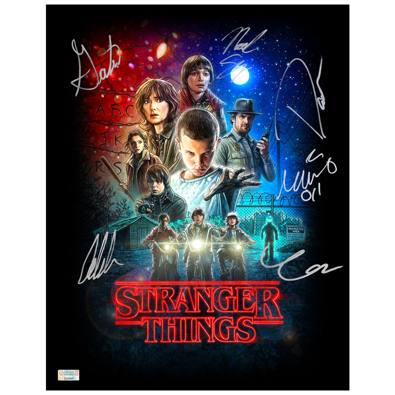Millie Bobby Brown, David Harbour, Noah Schnapp, Gaten Matarazzo, Caleb McLaughlin, Finn Wolfhard Autographed Stranger Things 11x14 Poster