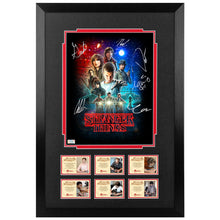Load image into Gallery viewer, Millie Bobby Brown, David Harbour, Noah Schnapp, Gaten Matarazzo, Caleb McLaughlin, Finn Wolfhard Autographed Stranger Things 11x14 Poster