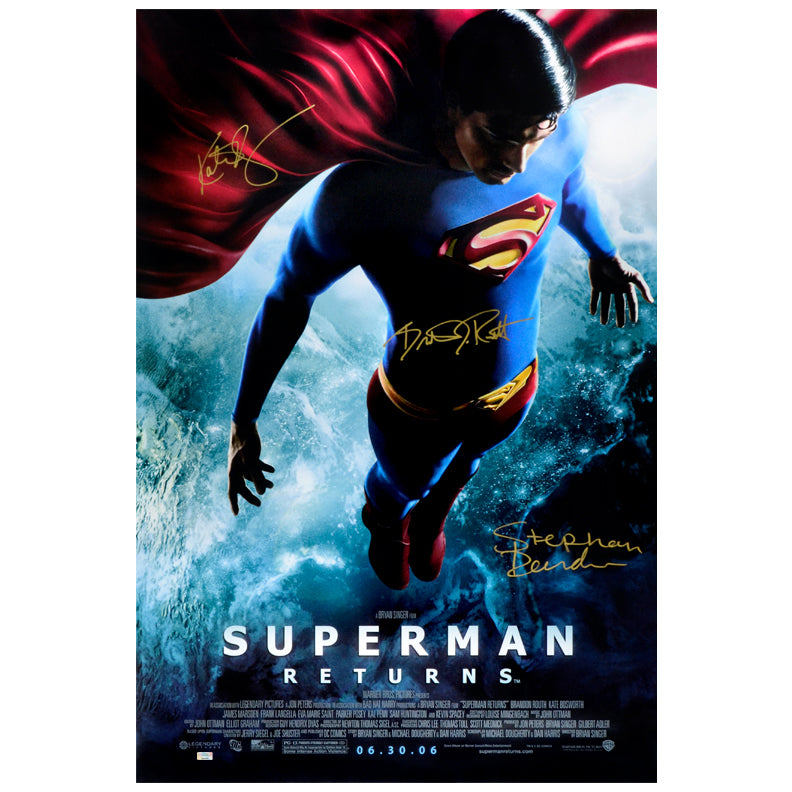Brandon Routh, Kate Bosworth and Stephan Bender Autographed Superman Returns Original Double Sided 27x40 Poster