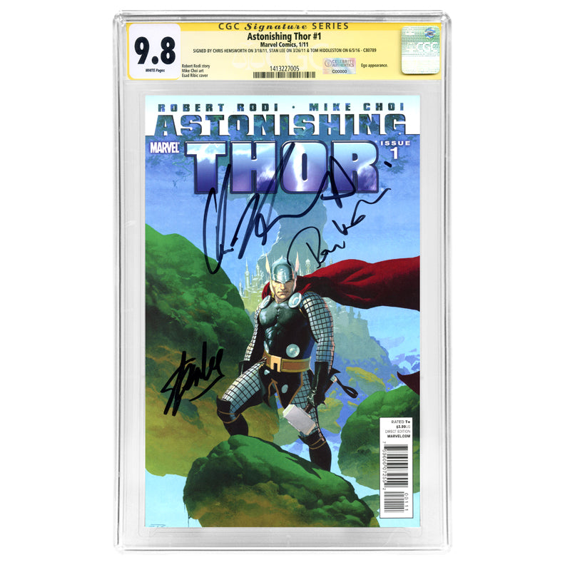 Chris Hemsworth, Tom Hiddleston and Stan Lee Autographed Astonishing Thor #1 CGC SS 9.8