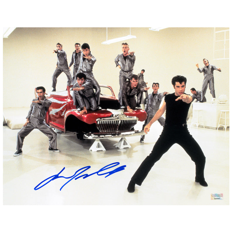 John Travolta Autographed Grease Danny Zuko T-Birds 11x14 Scene Photo