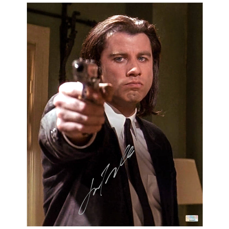 John Travolta Autographed Pulp Fiction Vincent Vega Hitman 11x14 Photo