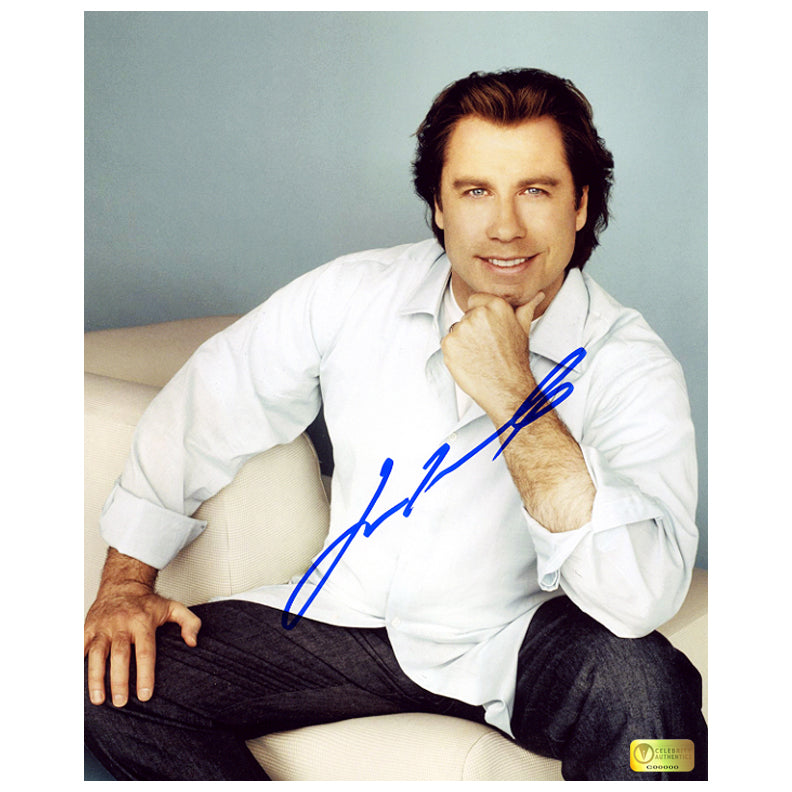 John Travolta Autographed 8×10 Casual Portrait Photo