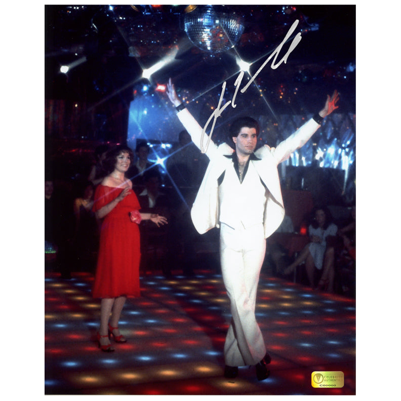 John Travolta Autographed Classic Saturday Night Fever Pose 8x10 Photo