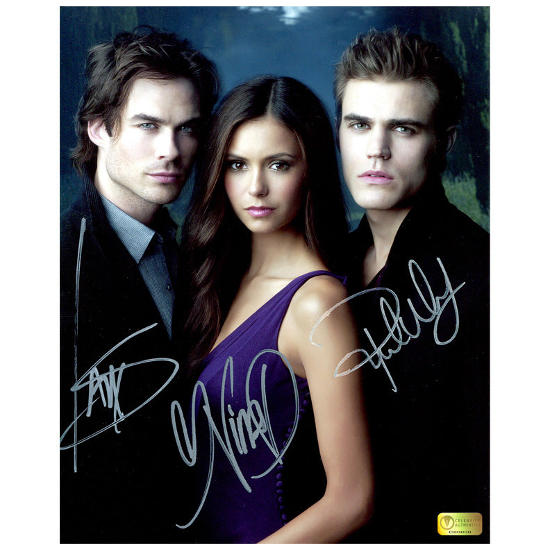 Ian Somerhalder, Nina Dobrev and Paul Wesley Autographed Vampire Diaries 8x10 Photo