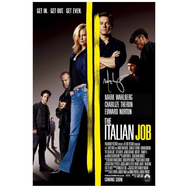 Mark Wahlberg Autographed The Italian Job 27x40 Movie Poster
