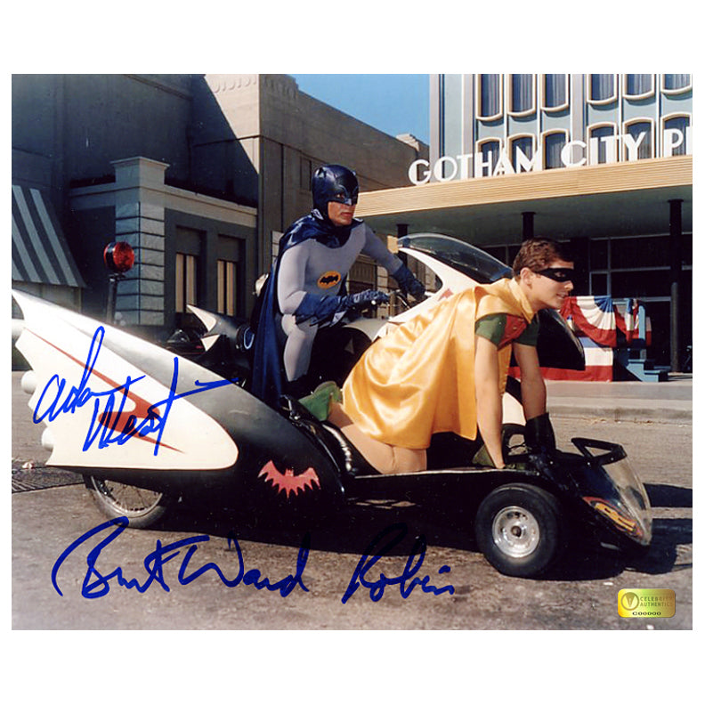 Adam West and Burt Ward Autographed Classic Batman Batcycle 8x10 Photo