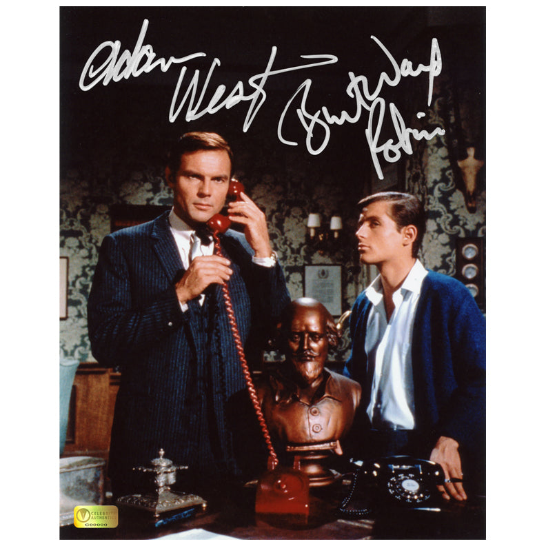 Adam West and Burt Ward Autographed Classic Batman Batphone 8x10 Photo