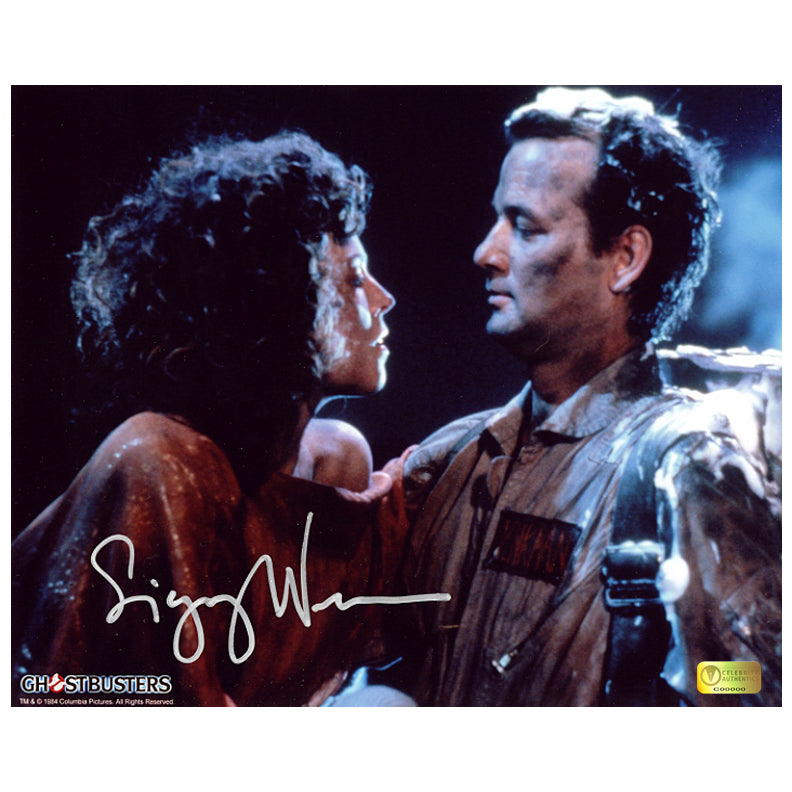 Sigourney Weaver Autographed Ghostbusters Dana Barrett and Peter Venkman 8×10 Photo