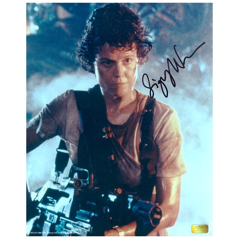 Sigourney Weaver Autographed 8×10 Aliens Battle Ready Photo