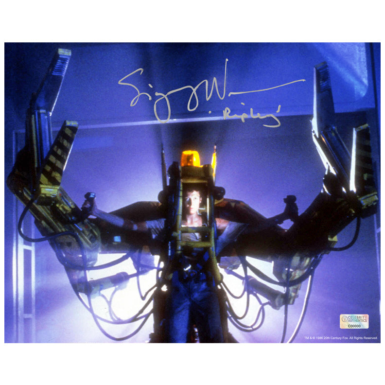 Sigourney Weaver Autographed Aliens Power Loader 8×10 Photo