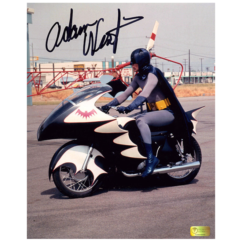 Adam West Autographed 1966 Batman Batcycle 8x10 Photo