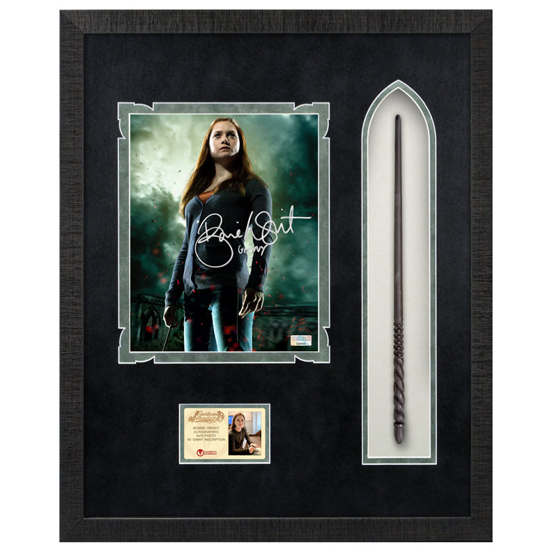 Bonnie Wright Autographed Harry Potter Ginny Weasley 8×10 Photo With Wand Framed Display