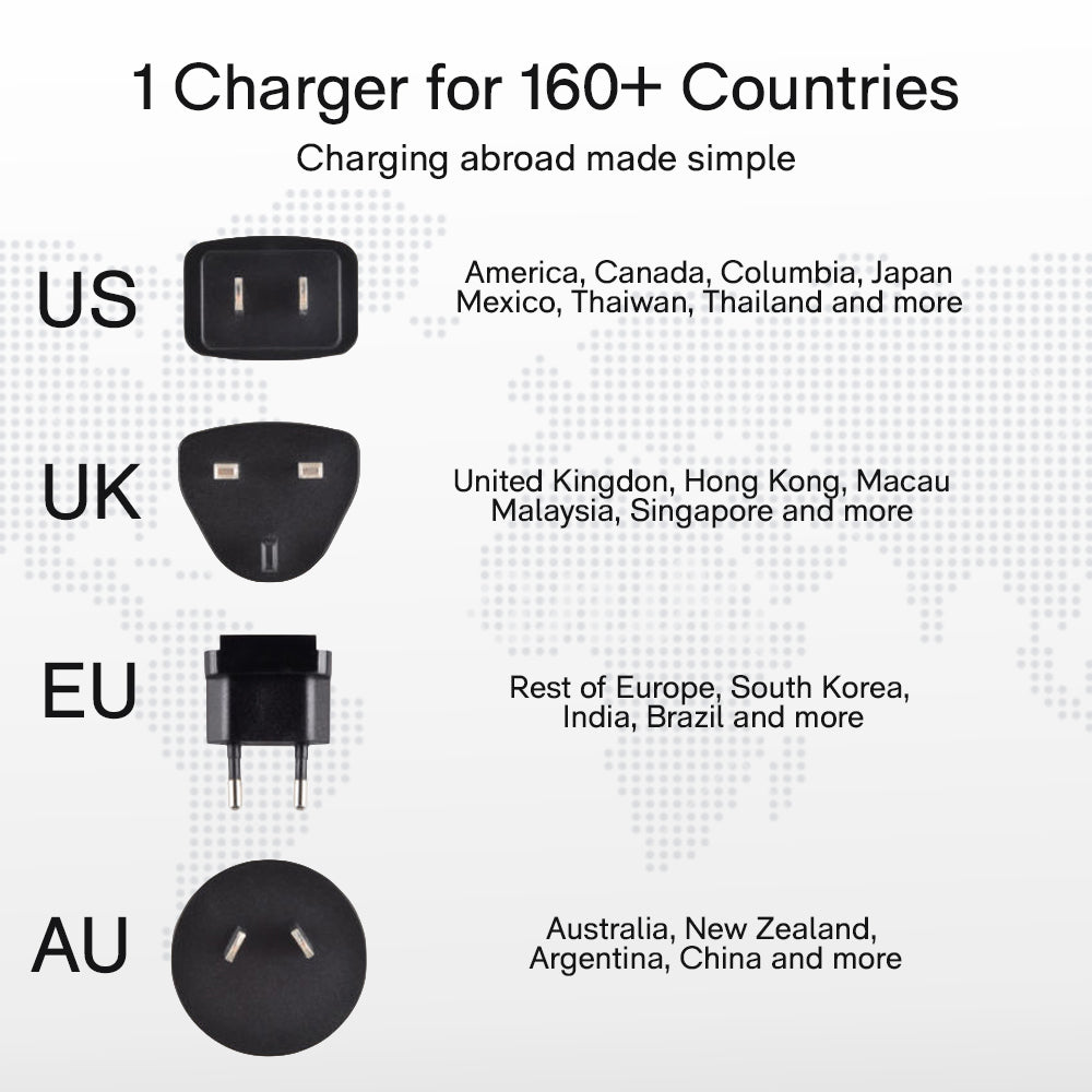 USB-C PD Wall Charger | Interchangeable US/UK/EU/AU Plugs