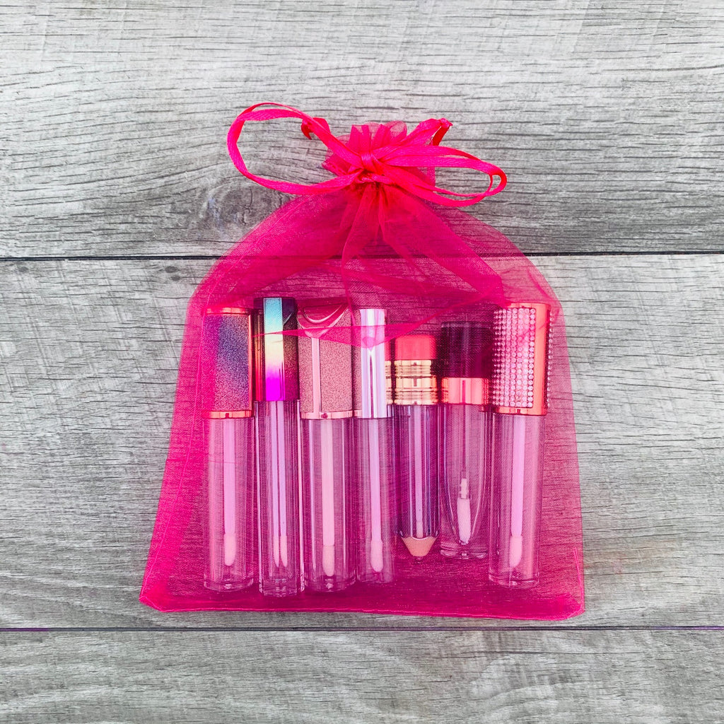 Hot Pink Sheer Organza Bags 10CT 6x9 inch Lip Gloss Bags Drawstring Pouch