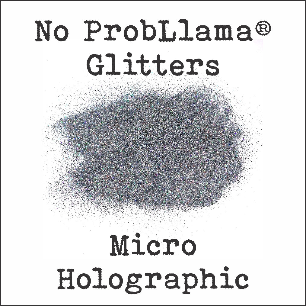 No ProbLlama Glitter - Micro Silver Holographic - Made in the USA - .004 square cut