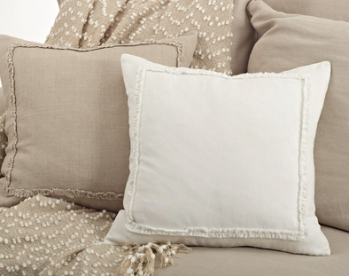 Ruffled Design Pillow - Ivory