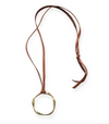 "Organic brass open circle on leather 34"" pendant 2"""