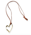 Brass organic ribbon heart pendant on leather necklace 34""