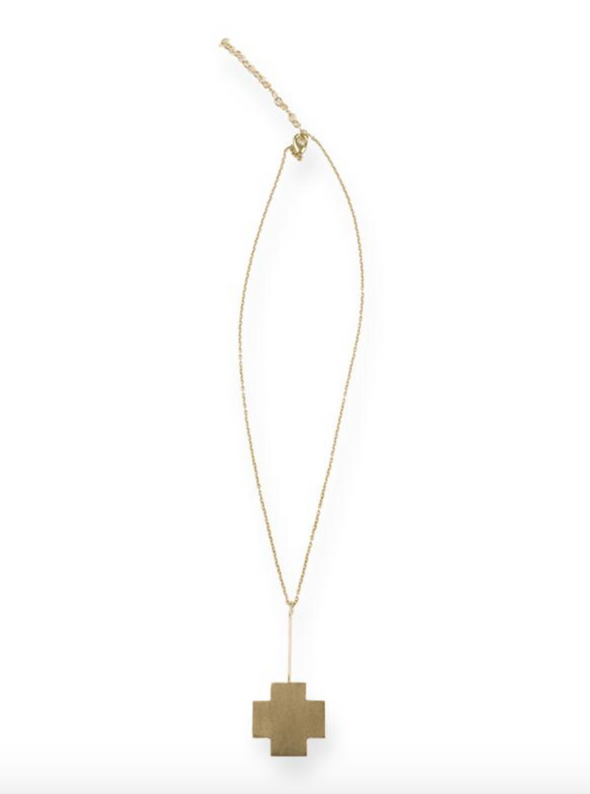Brass small cross stick necklace