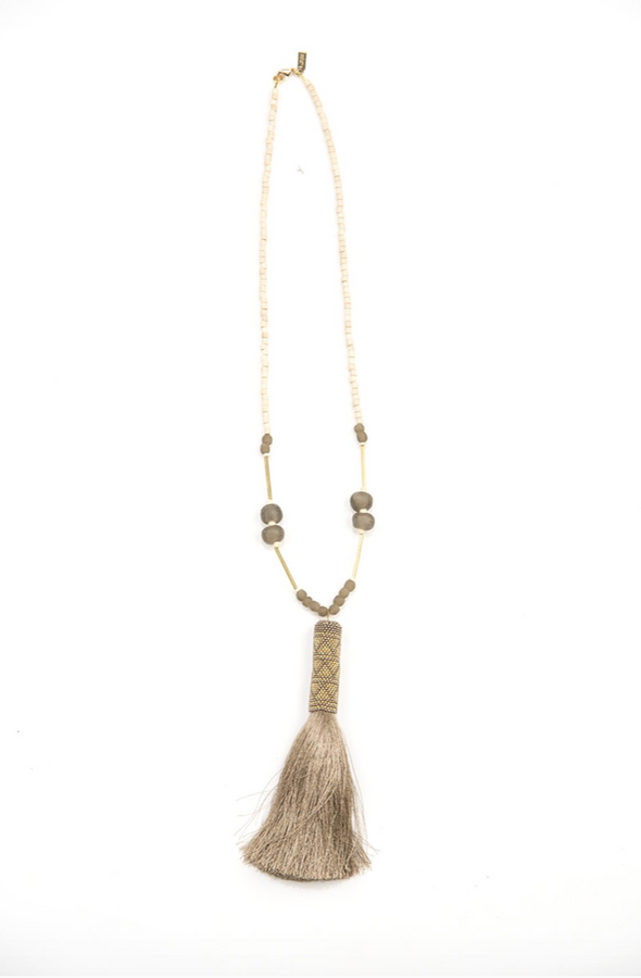 "Ghana glass wood brass and taupe tassel necklace 30"" with 6"" tassel - taupe"