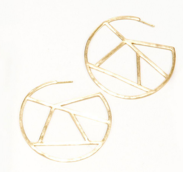 Brass stained glass circle earrings