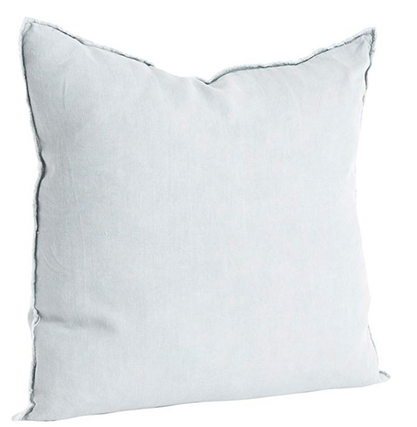 Fringed Design Linen Pillow - Blue Grey