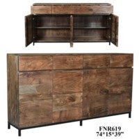 Bengal Manor Acacia Wood 4 Drawer and 4 Door Sideboard Natural Finish
