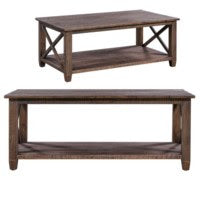 Pembroke Plantation Recycled Pine Burnished Sedona Finish Rectangle Cocktail Table