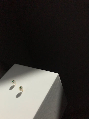 Falling Star Studs with Emeralds