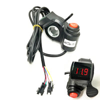 Electric Bike Thumb Throttle 12-100v LED Display Voltmeter & 3-Speed Switch