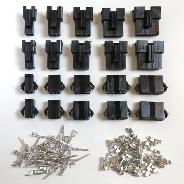 10 Pair JST-SM 2/3/4/5/6 Pin Plug Terminal Connector (2 of each) 2.5mm Pitch