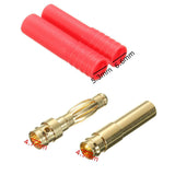 10x Sets HXT 4mm Gold Bullet Connectors Banana Plugs Red Housing RC Car Plane