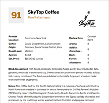 Load image into Gallery viewer, PERU-Paltachayoc **91 Rating from Coffee Review**